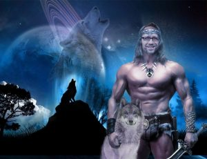 Crazy photoshopped picture of Doug's face on a man's body with large muscles, sitting on top of a horse with a fantasy image in the background.